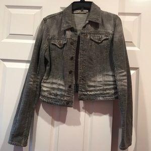 Express gray acid wash jean jacket medium